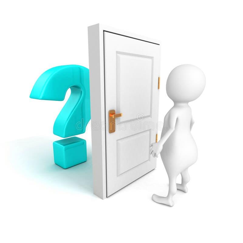 3d有蓝色问号的人在门后 皇族释放例证
