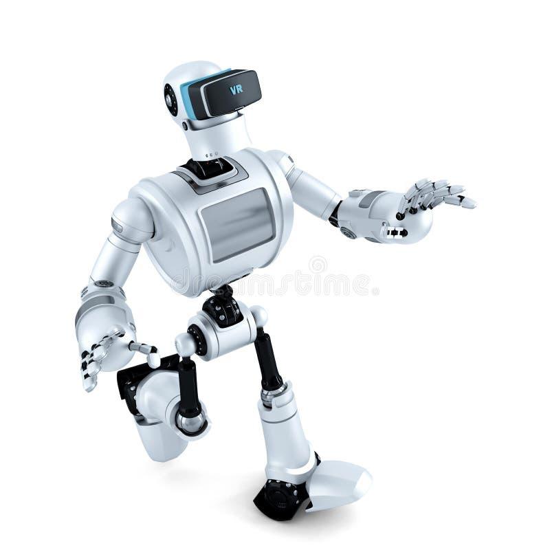 3D有虚拟现实耳机的机器人 3d例证 包含裁减路线 皇族释放例证