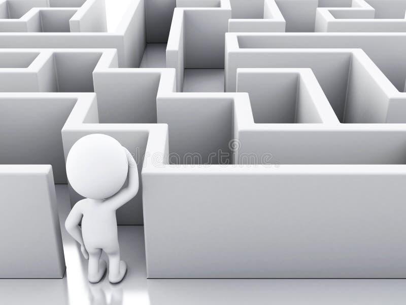 3d有迷宫的白人 皇族释放例证