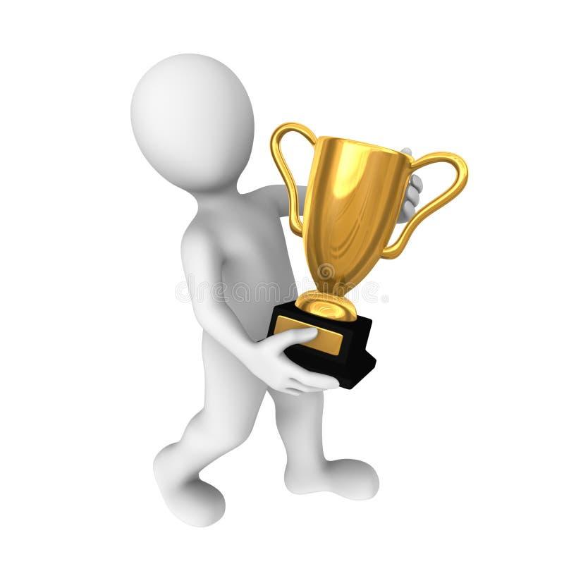 3d有金杯子的优胜者 向量例证