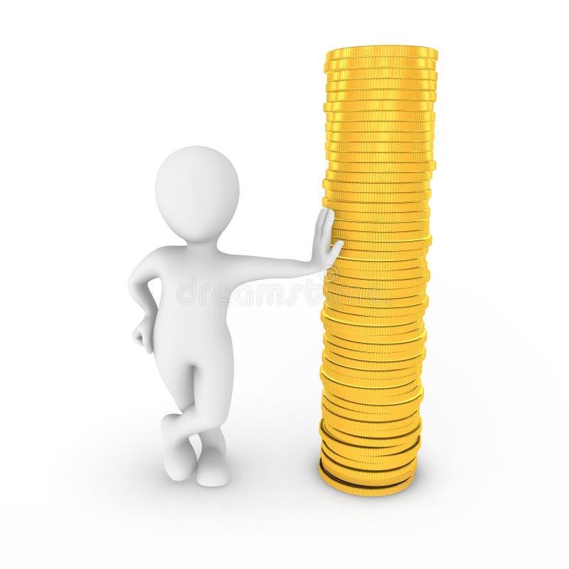3d有金黄硬币的人 库存例证