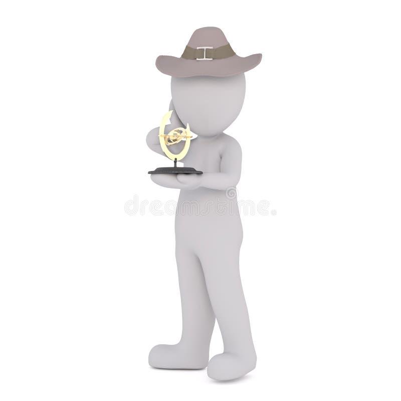 3D有金黄奖的人 库存例证