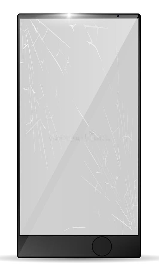 3d有镇压的现实残破的屏幕智能手机 有玻璃镇压的被打碎的手机 片剂损伤例子 向量 库存例证