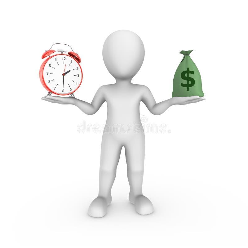 3d有闹钟的白人和金钱请求 挑选概念 向量例证