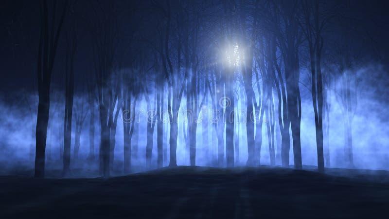 3D有雾的鬼的森林 库存例证