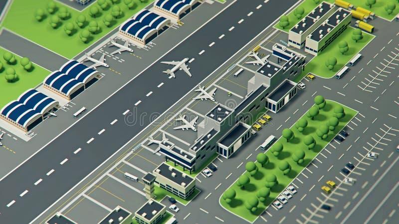3d有飞机的机场 库存例证