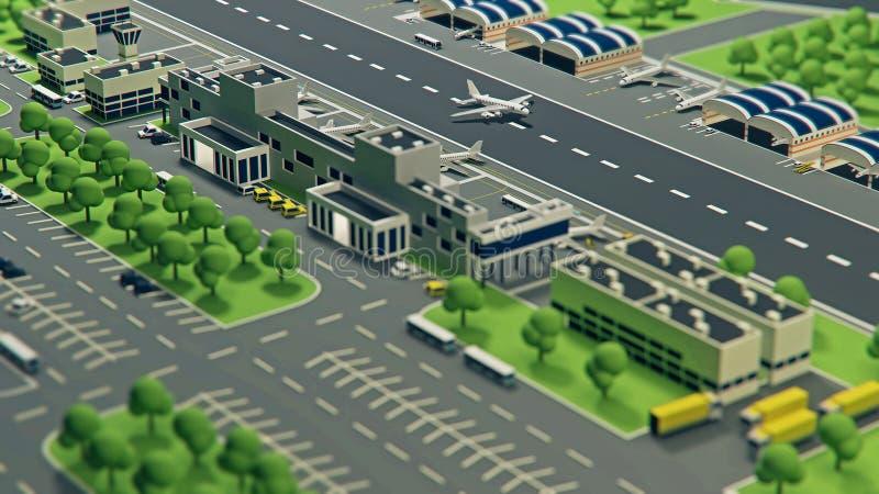 3d有飞机的机场 向量例证