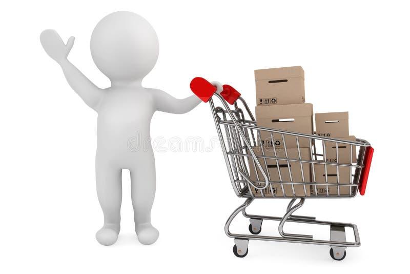 3d有购物车和货物箱子的人 库存例证