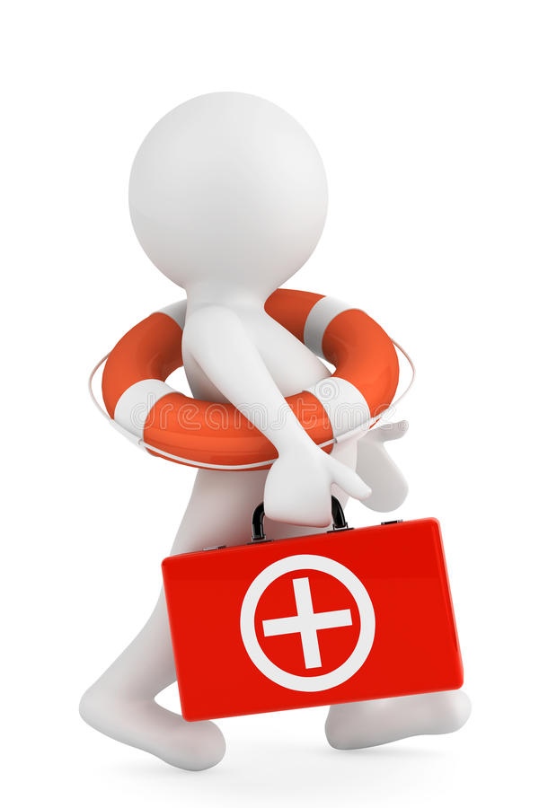 3d有lifebuoy圆环和急救箱子的人 向量例证