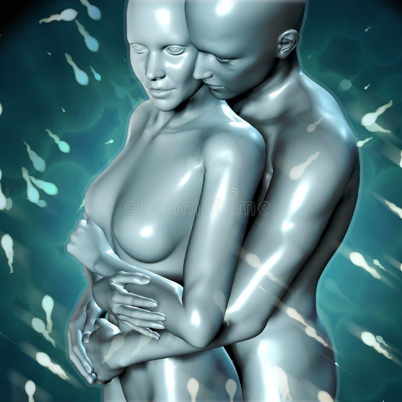 3d期待婴孩有活跃精液背景的夫妇 向量例证