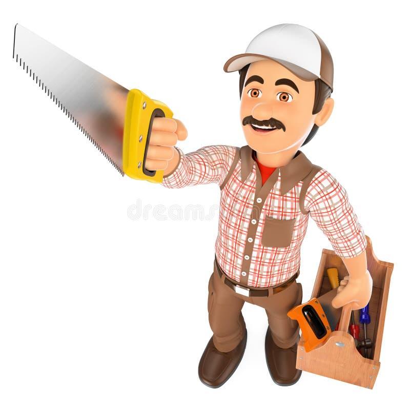 3D木匠与看见了和工具箱 库存例证