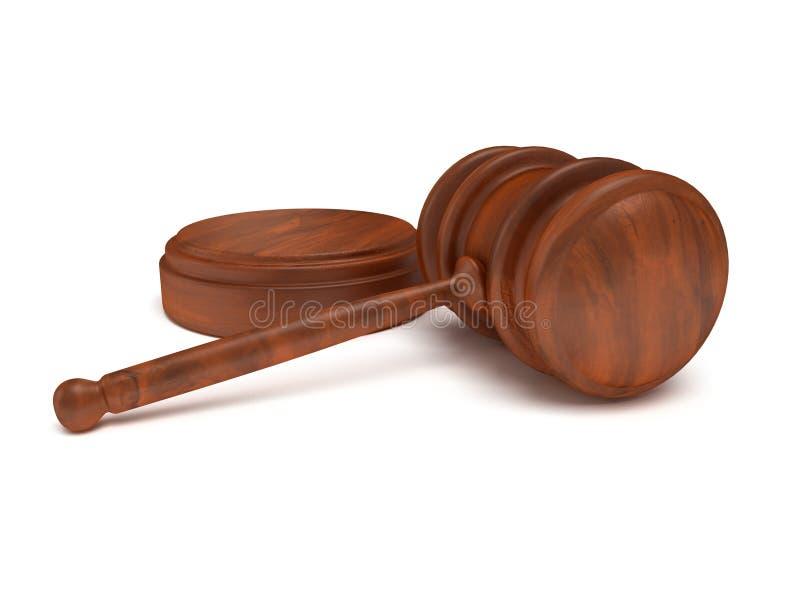 3D木惊堂木。法官,法律,拍卖概念 皇族释放例证