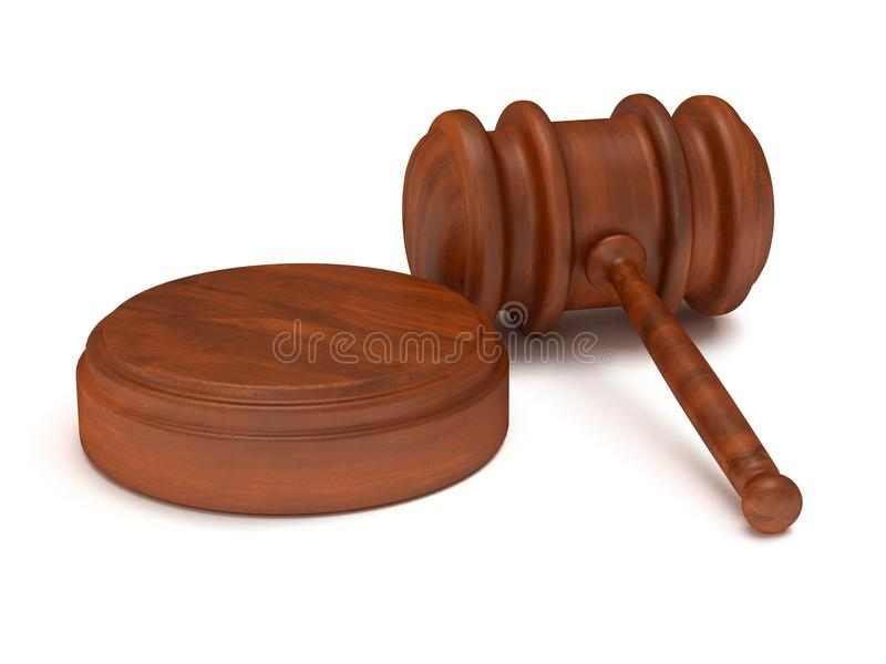 3D木惊堂木。法官,法律,拍卖概念 向量例证