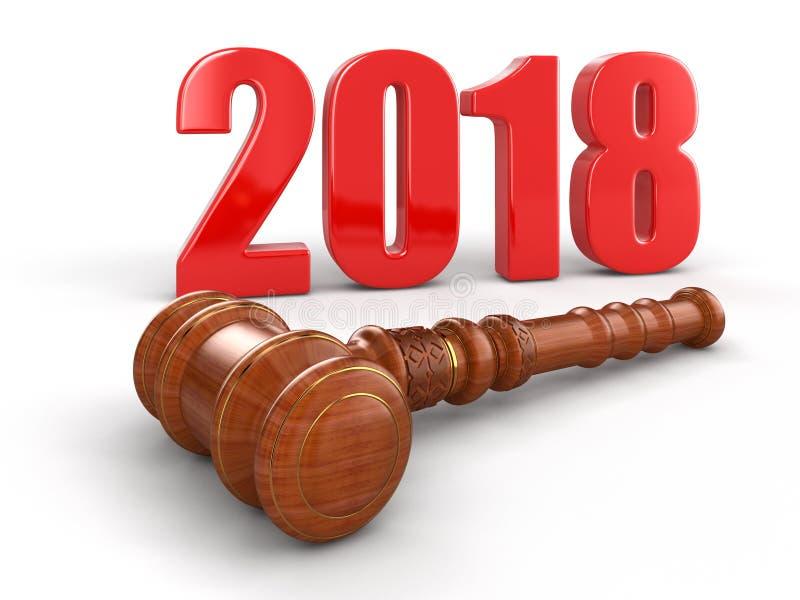 3d木短槌和2018年 皇族释放例证