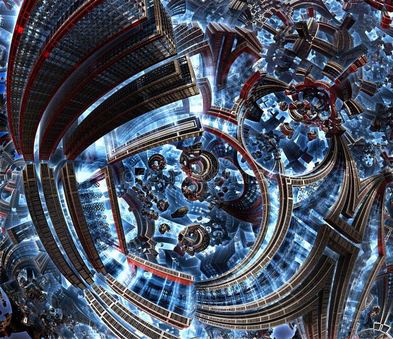 3d未来城市分数维  文明的发展在星系的 库存例证