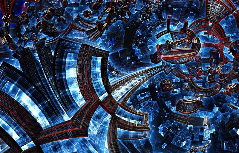 3d未来城市紫外分数维  在星系的发展文明 库存例证