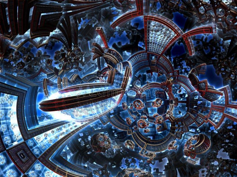 3d未来城市紫外分数维  在星系的发展文明 皇族释放例证