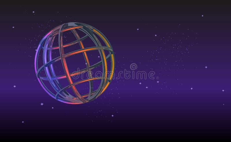 3d未来派地球,例证背景 全球化接口、在抽象图表的感觉科学技术 币种 皇族释放例证