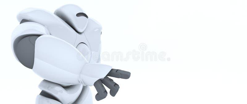 3D未来派机器人翻译指向与手指,按t 向量例证
