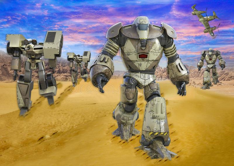 3D未来派机器人走的寄生虫的例证在沙漠 库存例证
