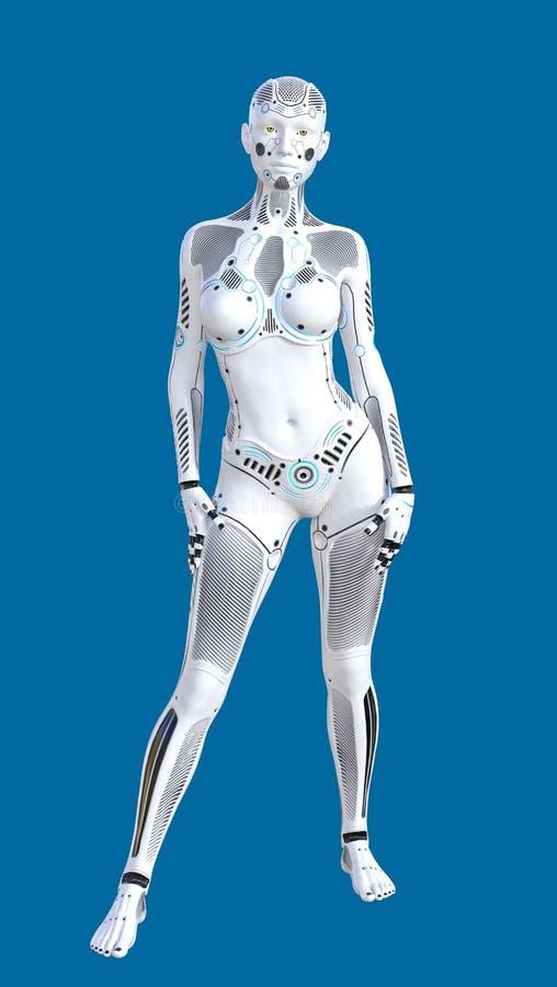 3D未来派白色女性人的机器人的例证 向量例证