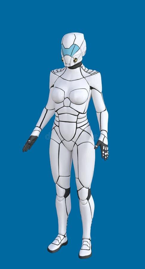 3D未来派白色女性机器人的例证 皇族释放例证