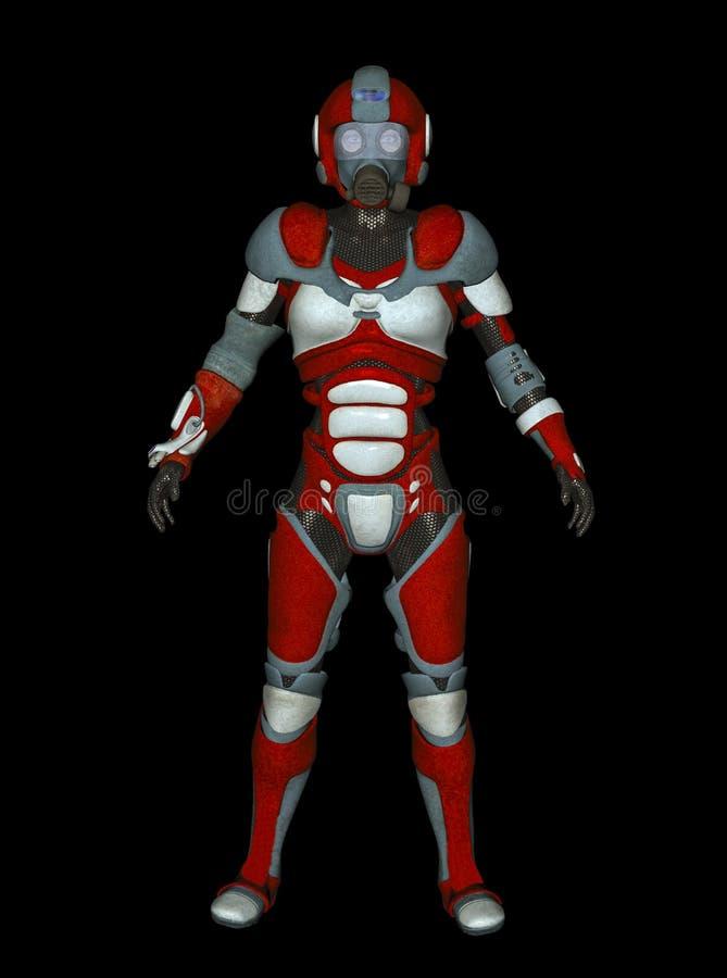 3D未来派红色女性靠机械装置维持生命的人的例证 向量例证