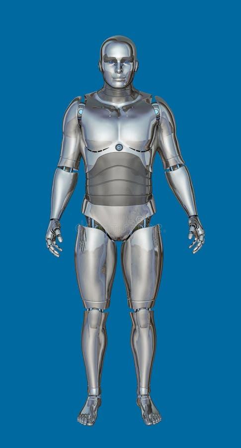3D未来派镀铬物男性靠机械装置维持生命的人的例证 向量例证