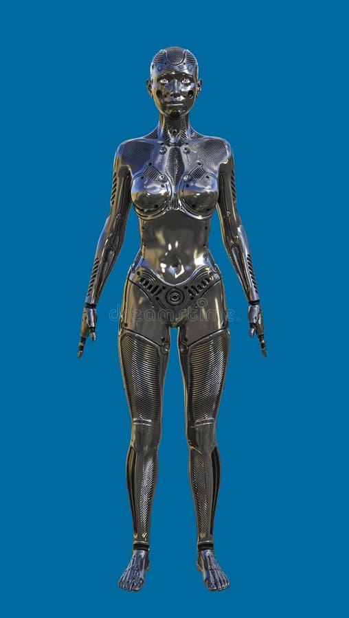 3D未来派黑女性人的机器人的例证 库存例证