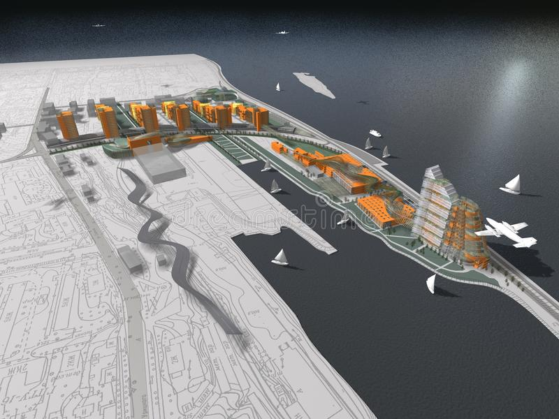 3D未来派海滨胜地 库存照片
