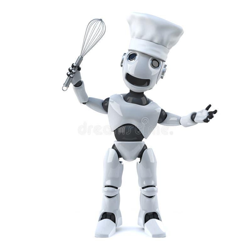 3d机器人厨师与扫和厨师帽子.图片