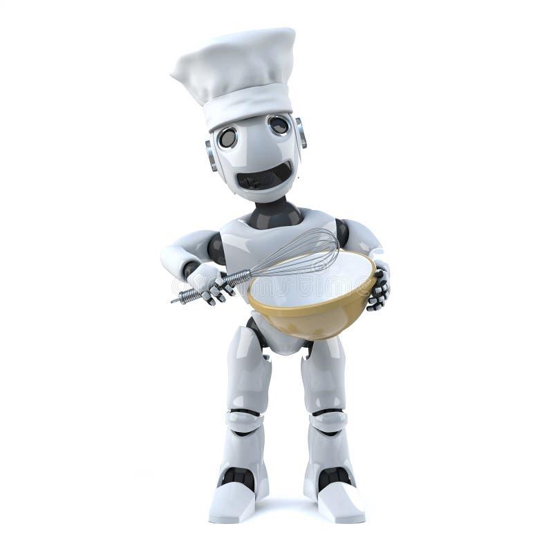 3d机器人厨师与扫和混料盆 库存例证