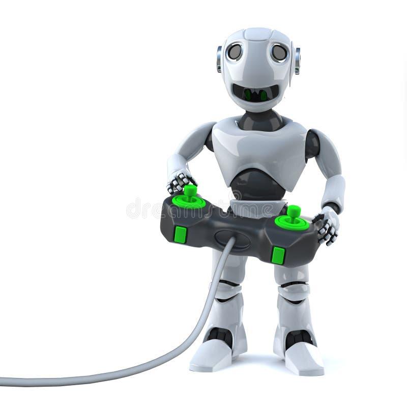 3d机器人演奏他的有控制杆控制器的计算机游戏控制台 皇族释放例证