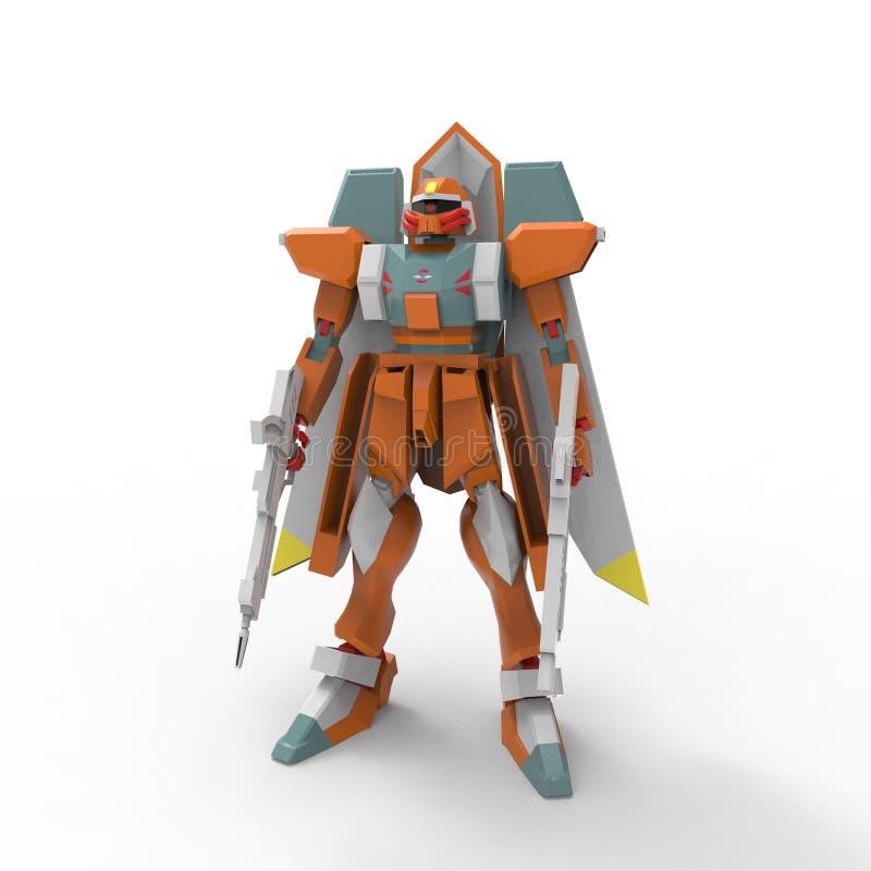 3D机器人翻译被创造通过使用搅拌器工具 库存例证