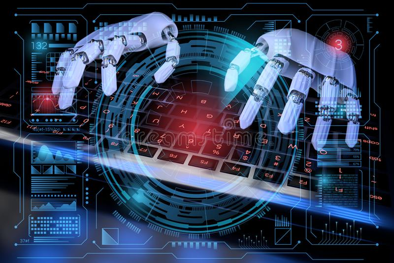 3d机器人ai cyborg键盘 HUD型SCIfi全息控制面板仪表 三维实体图 库存例证