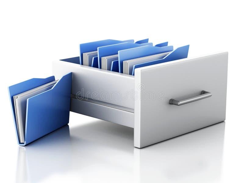 3d机柜文件 3d背景概念查出被回报的白色 库存例证