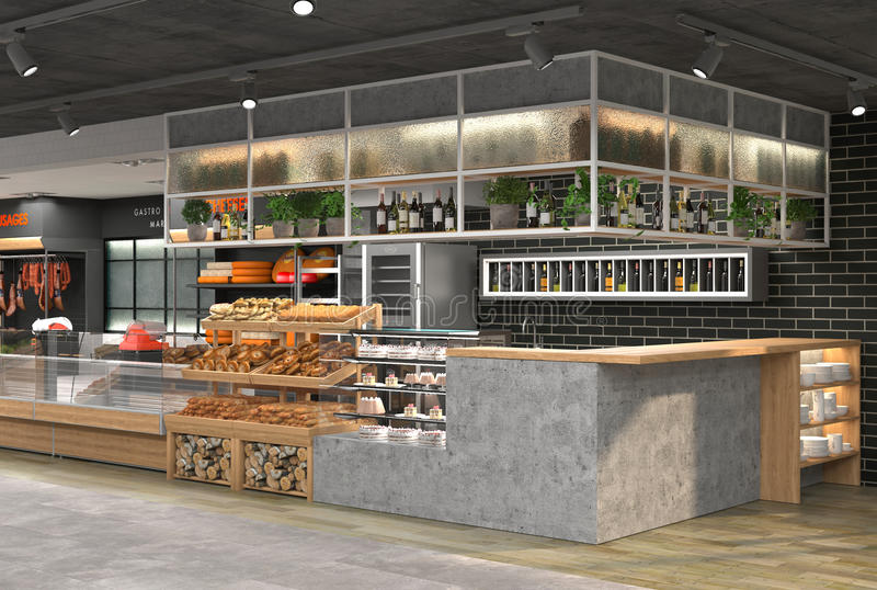 3D杂货店的内部的形象化 在顶楼样式的设计 向量例证