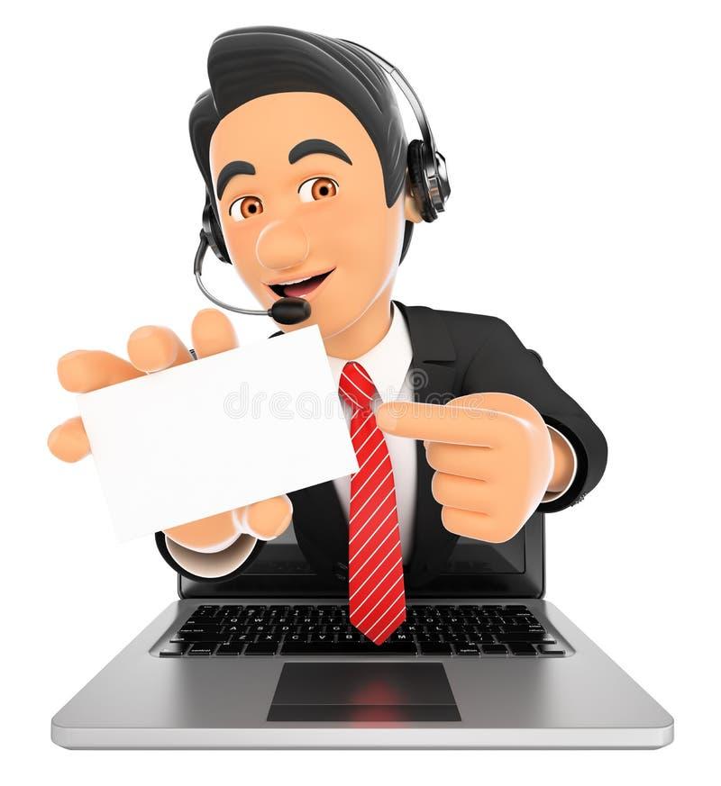 3D来电话中心的雇员有空白的一个膝上型计算机屏幕 向量例证