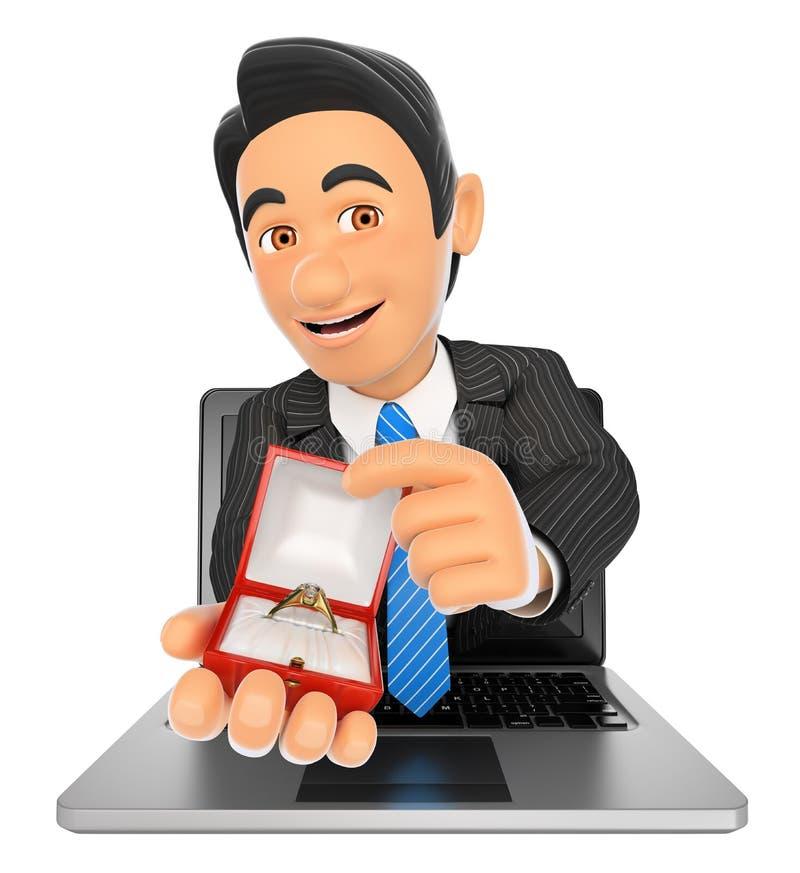 3D来的商人有订婚的rin一个膝上型计算机屏幕 库存例证