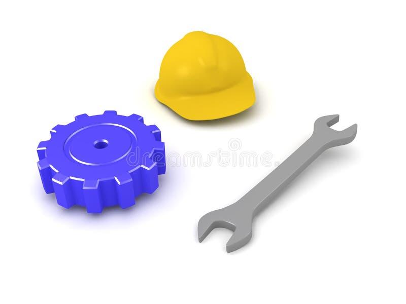 3D板钳、安全帽和机械齿轮的例证 库存例证