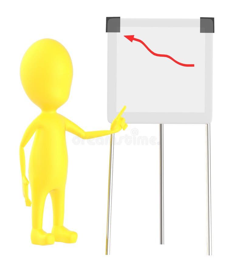 3d染黄指向他的往一张增长的图表图的字符手在委员会附有三脚架立场 皇族释放例证