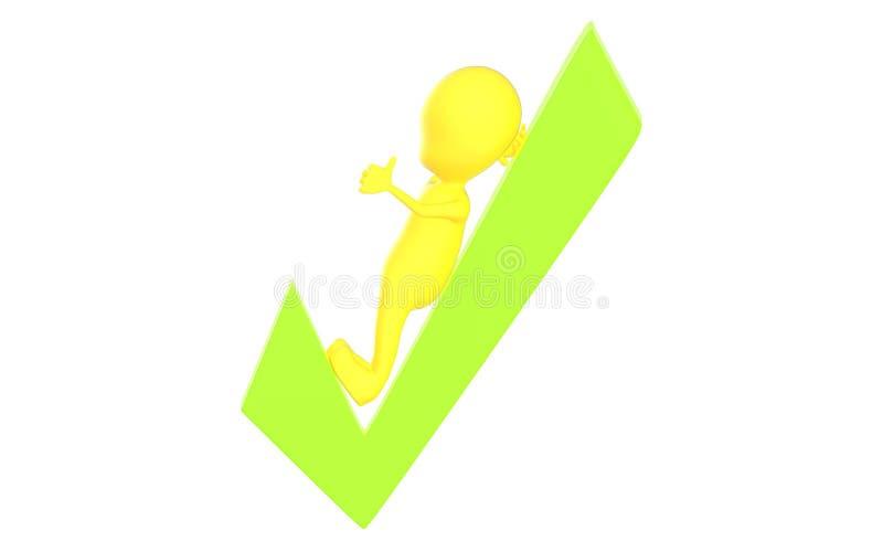 3d染黄说谎在绿色壁虱和显示赞许手势的字符 向量例证