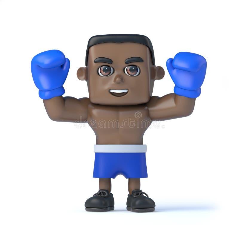 3d染黑拳击手举行他的拳头在胜利 向量例证