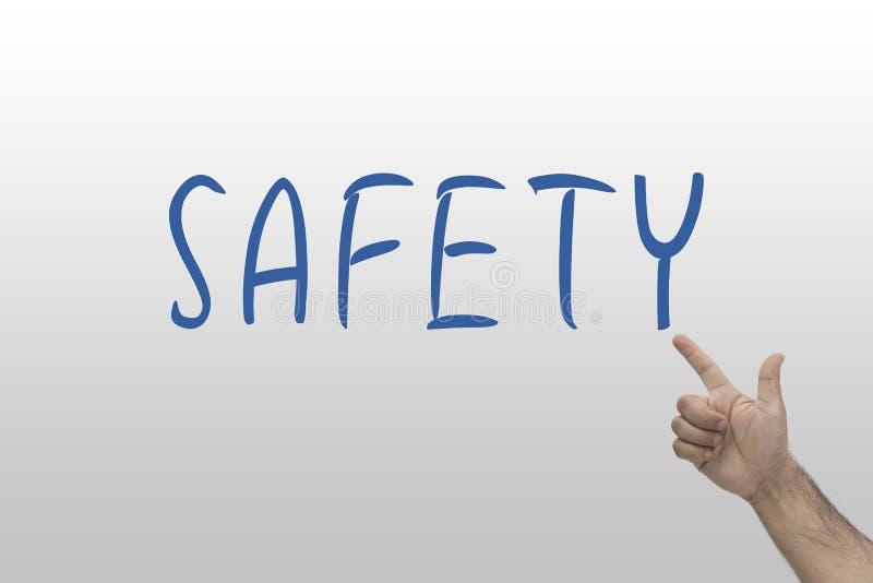 3d查出的概念使安全性空白 打手势对安全文本的手 免版税库存照片