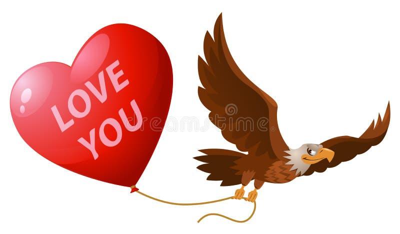 3d查出的背景镜象爱白色您 飞行的老鹰拿着心形气球 库存照片
