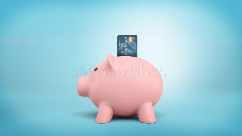 3d桃红色存钱罐的翻译在蓝色背景的一张侧视图站立与信用卡被困住入它的投币口 向量例证