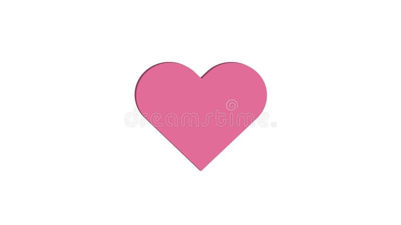 3D桃红色心脏简单的爱传染媒介例证设计 库存例证