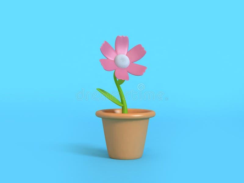 3d桃红色花动画片样式花盆最小的抽象蓝色背景3d回报 库存例证