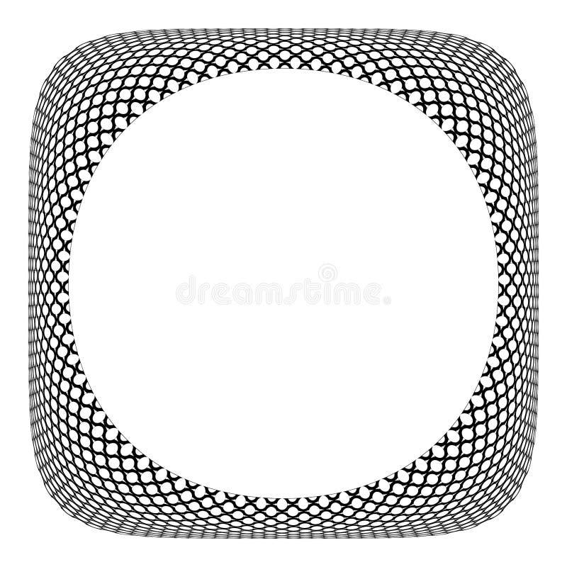 3D框架设计 在凸面方形的形状的圈子样式 向量例证