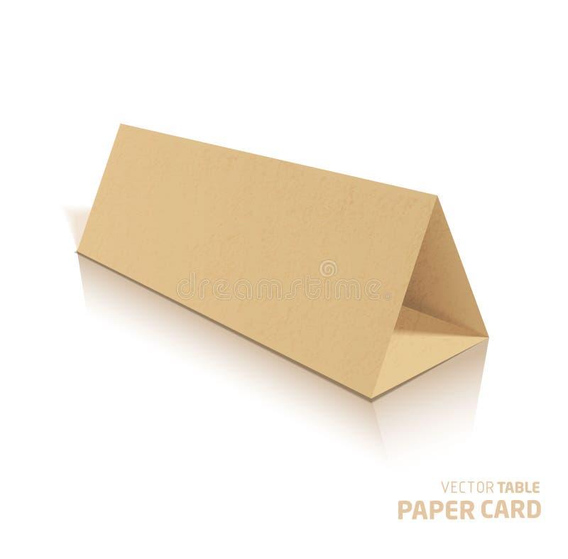 3d桌在灰色背景的papercraft卡片 皇族释放例证